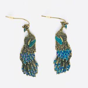 New! Vintage Blue Peacock Dangle Earrings Gold